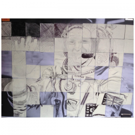 "Tim Peake in 3inch squares by adult and children visitors to ""Strata"" exhibition Walton."