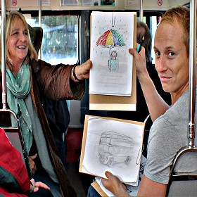 On the Big Red Drawing Bus in Ashburton