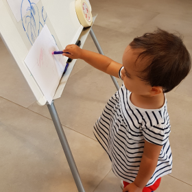 Our youngest visitor at the Get Drawing @Chatsworth workshops in the Garden