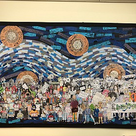 Tapton students produced a large scale illustration installation protesting climate change, taking inspiration from the Student climate protests, Kidlit4climate and the Little people Big Dreams books.