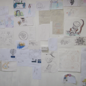One wall full of drawings of Steam Punk!
