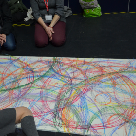 Collaborative drawing at Heathfield Community College with local primary schools