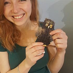 Hannah fell in love with this owl in one of our weaving workshops