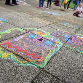 Colourful Sugar Skull Pavement Art