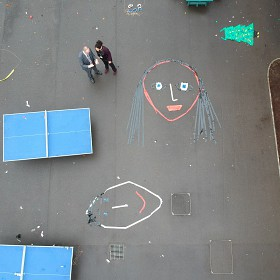 Flying our drone above the artwork.
