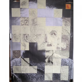 "Einstein in 3inch squares by adults and children visiting ""Strata"" exhibition Walton."
