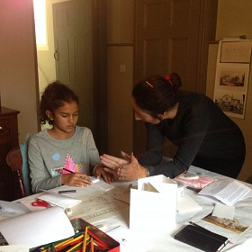 Artist Tahira Mandarino from Raw Ground Arts with budding young artist