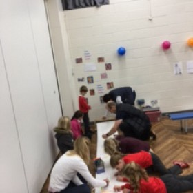 Inviting the parents in to contribute to our whole school piece of artwork.