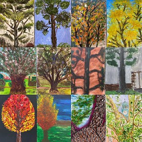 Trees drawn with broccoli & asparagus at Shrewsbury School