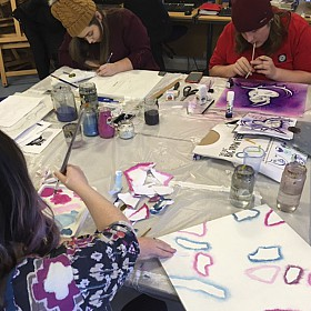 The creative juices were flowing with drawing, painting, stencilling and spray painting!