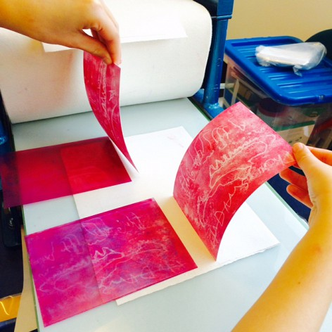 monoprints made on the traditional printing press