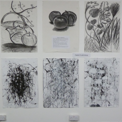 drawings from Freefall Youth Group showing at TAAG Big Draw Till Nov 3rd
