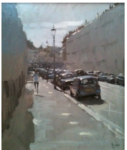 "Ben Hope""Looking West Along Queen's Gate Terrace"" 25x30cm. Oil on canvas."